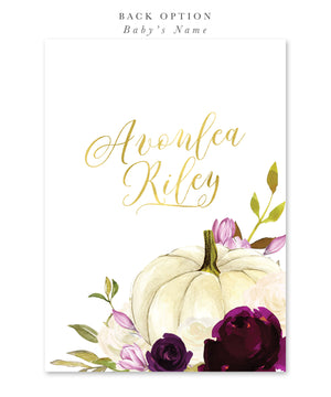 Fall 6: Pumpkin, Baby Shower Invitation {Purple}