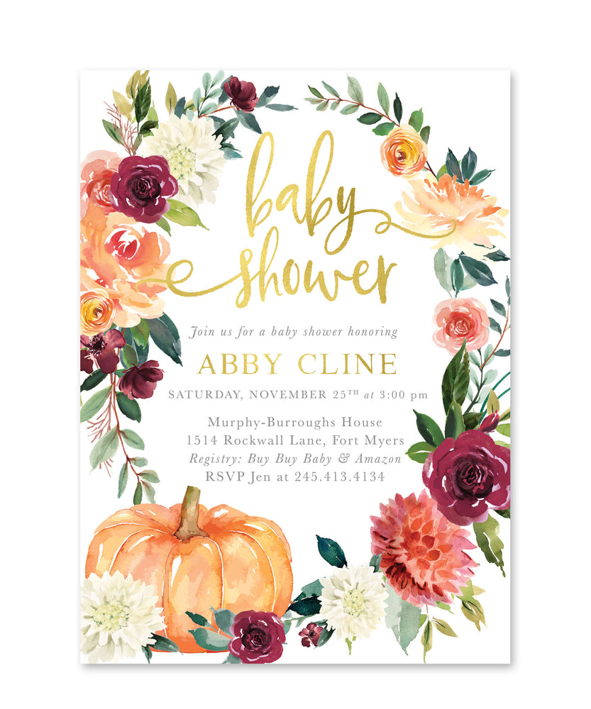 Fall 7: Pumpkin Baby Shower Invitation