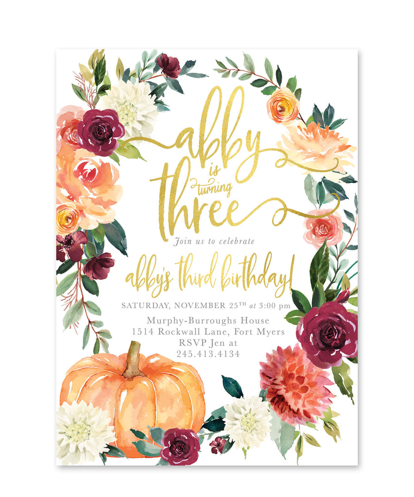 Fall Girl Birthday Invitation, Any Age Pumpkin Birthday Invite: Autumn Fall Florals, Burgundy, Blush - Invite - Printed Printable, 7