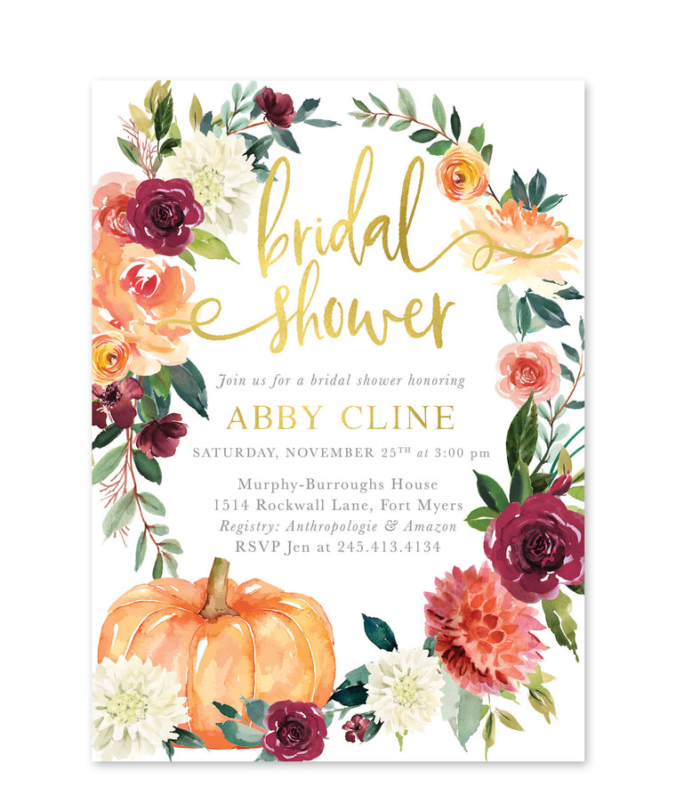 Fall Bridal Shower Invitation, Marsala, Burgundy, Wine, Blush, Orange, Pink Florals, Greenery Pumpkin Invite - Printed Printable - Fall 7