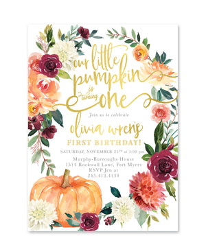 Fall 7: Little Pumpkin is Turning One, Birthday Invitation