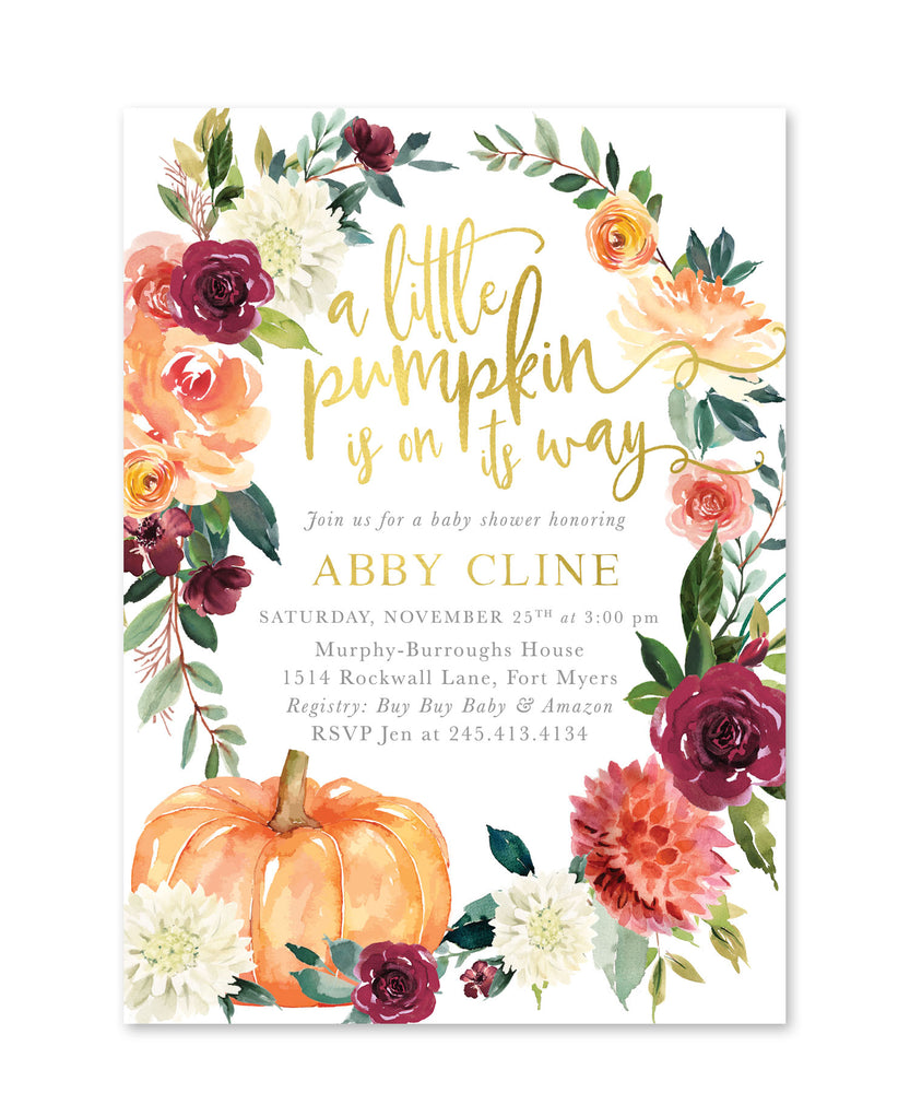 Fall 7: A little Pumpkin is on Its Way Fall Baby Shower Invitation