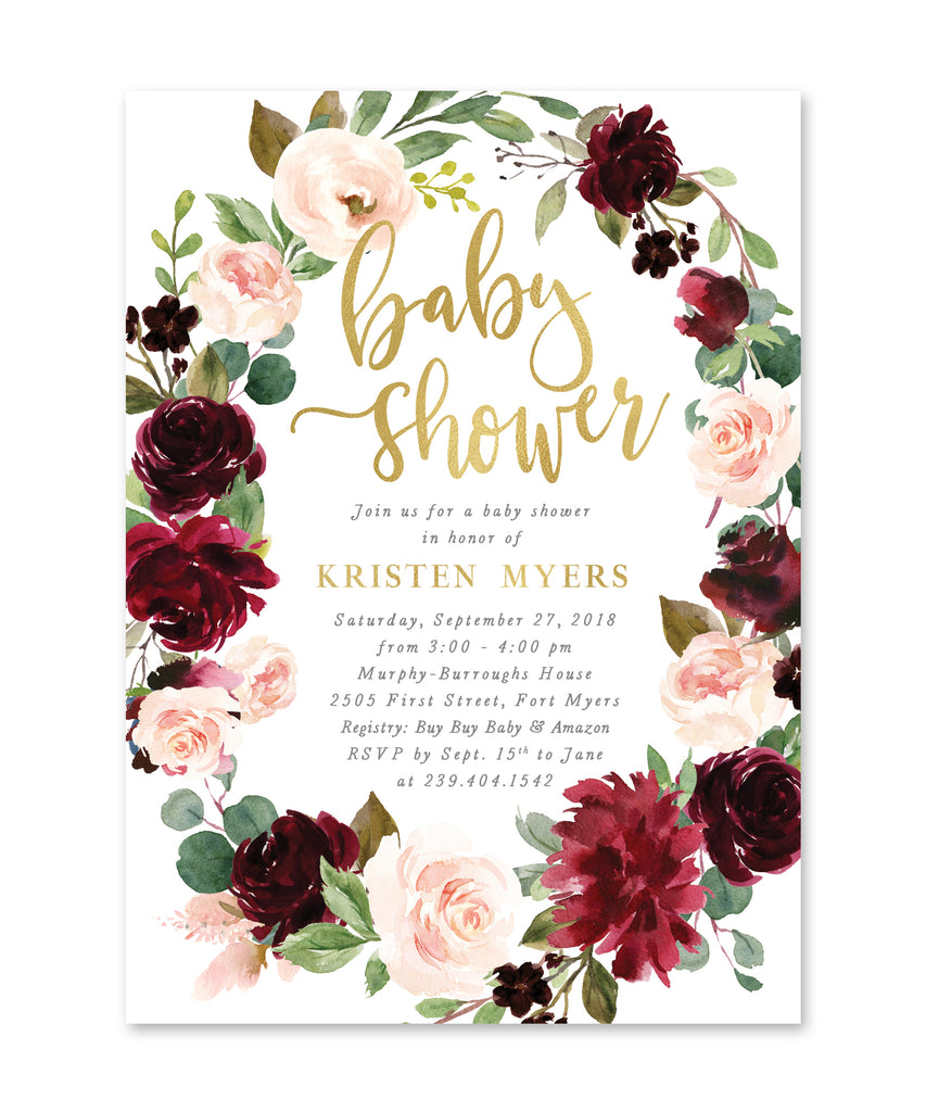 Kristen: Baby Shower Invitation {Burgundy & Blush}