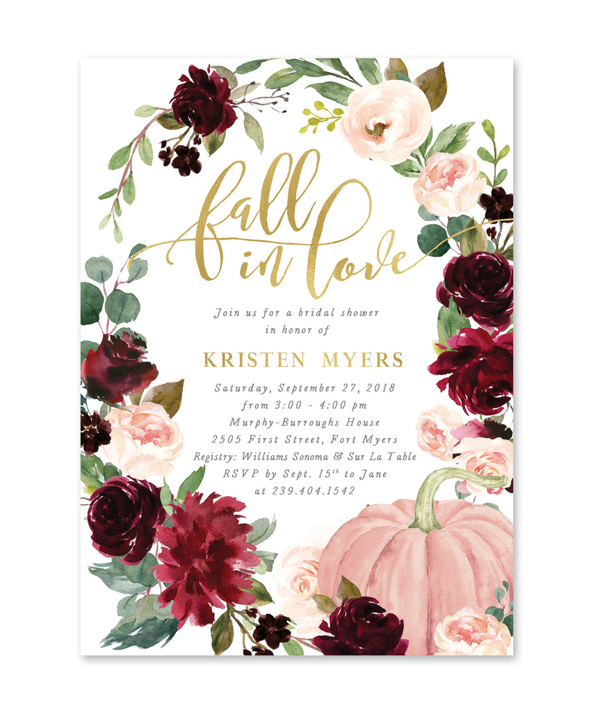 Fall In Love Bridal Shower Invitation, Fall Bridal Shower Invite, Burgundy and Blush Bridal Shower Invite, Pumpkin Bridal Invite - Kristen