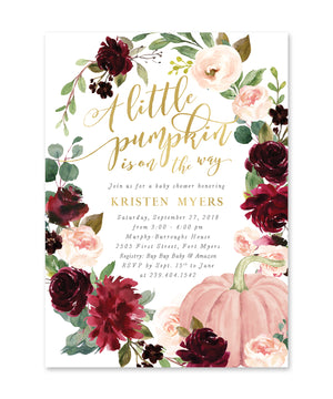 Kristen: A little Pumpkin is on the Way, Fall Baby Shower Invitation {burgundy & blush}