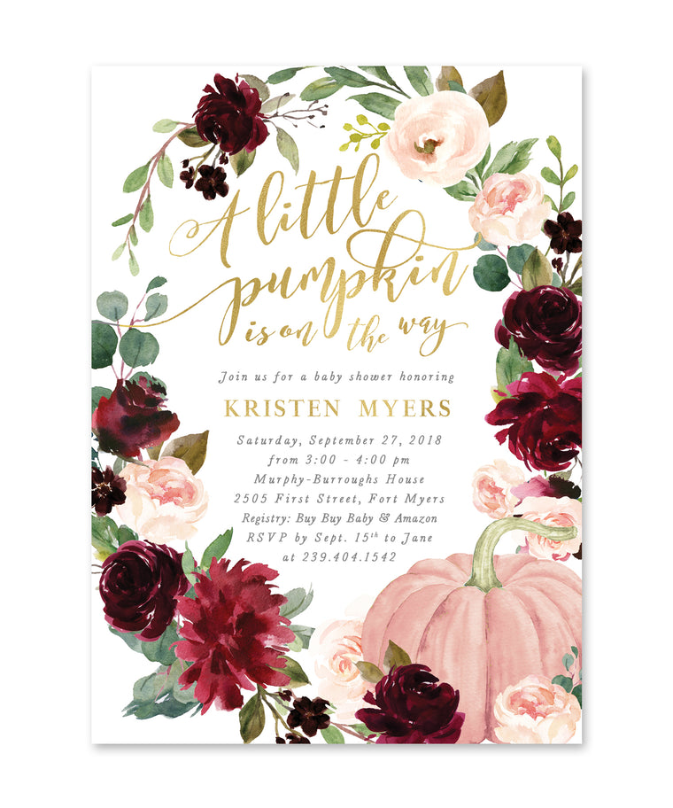 A little Pumpkin is on Its Way Fall Baby Shower Invitation, Fall Baby Shower Invite Girl, Burgundy and Blush Pink with Greenery - Kristen