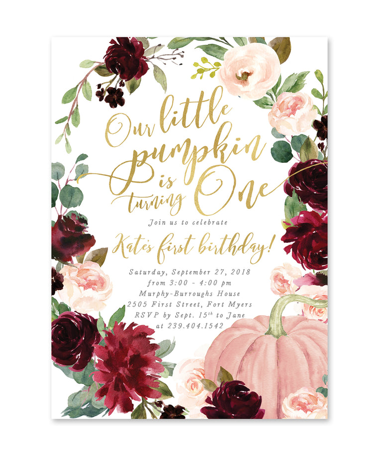 Our Little Pumpkin is One, Fall Birthday Invitation Girl, Girl Fall Birthday Invite, Girl Pumpkin Birthday Invite, Burgundy Blush - Kristen