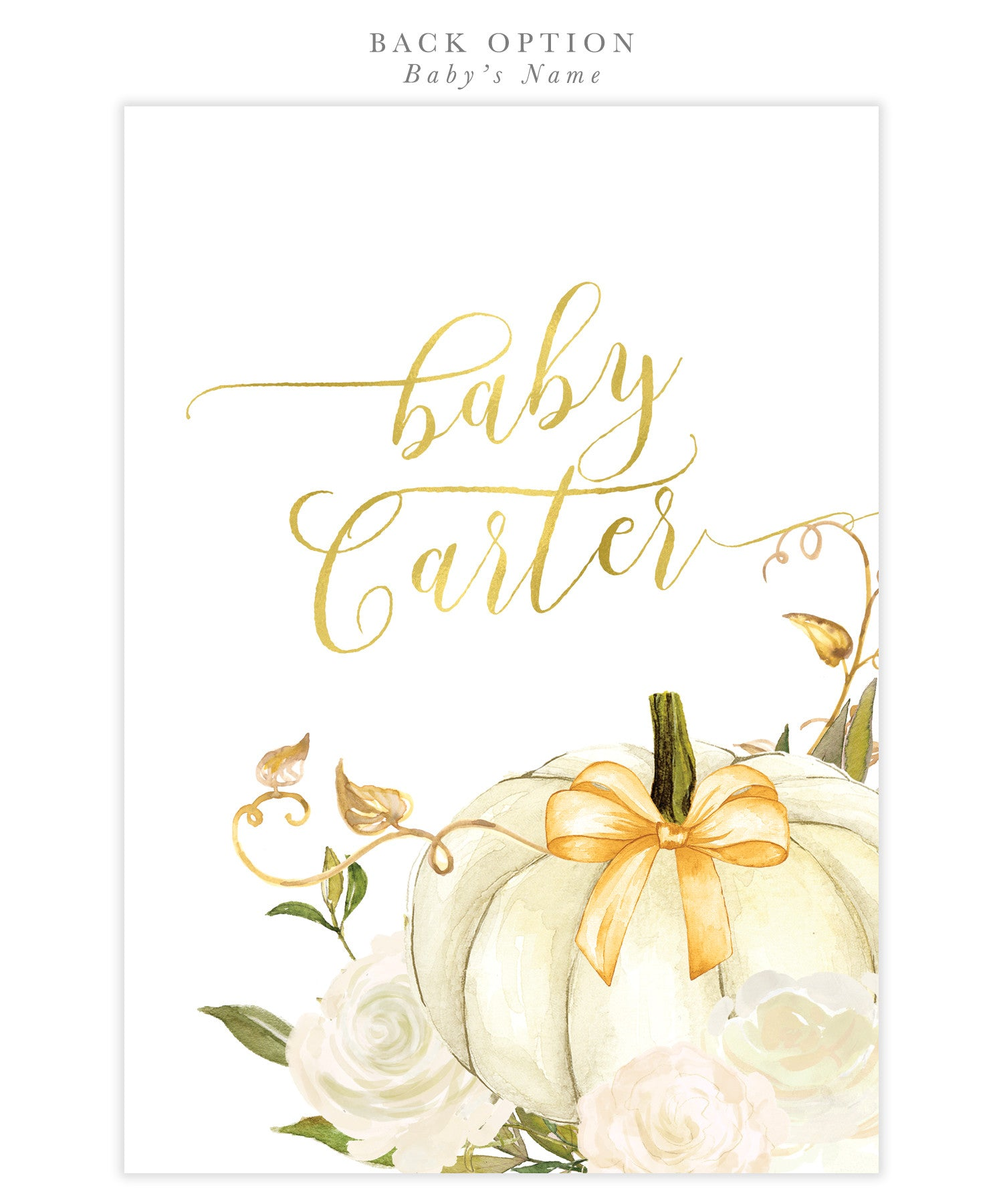 Fall White Roses U0026 Pumpkin Baby Shower Invitation