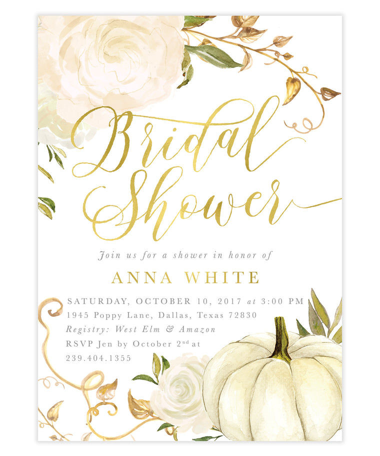 Fall White Roses & Pumpkin Bridal Shower Invitation