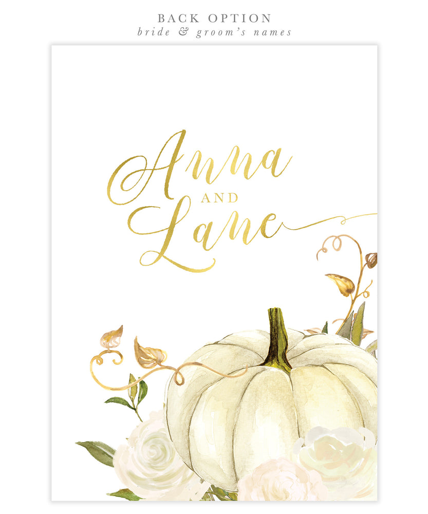 Fall 2: Fall In Love, Pumpkin Bridal Shower Invitation {White}