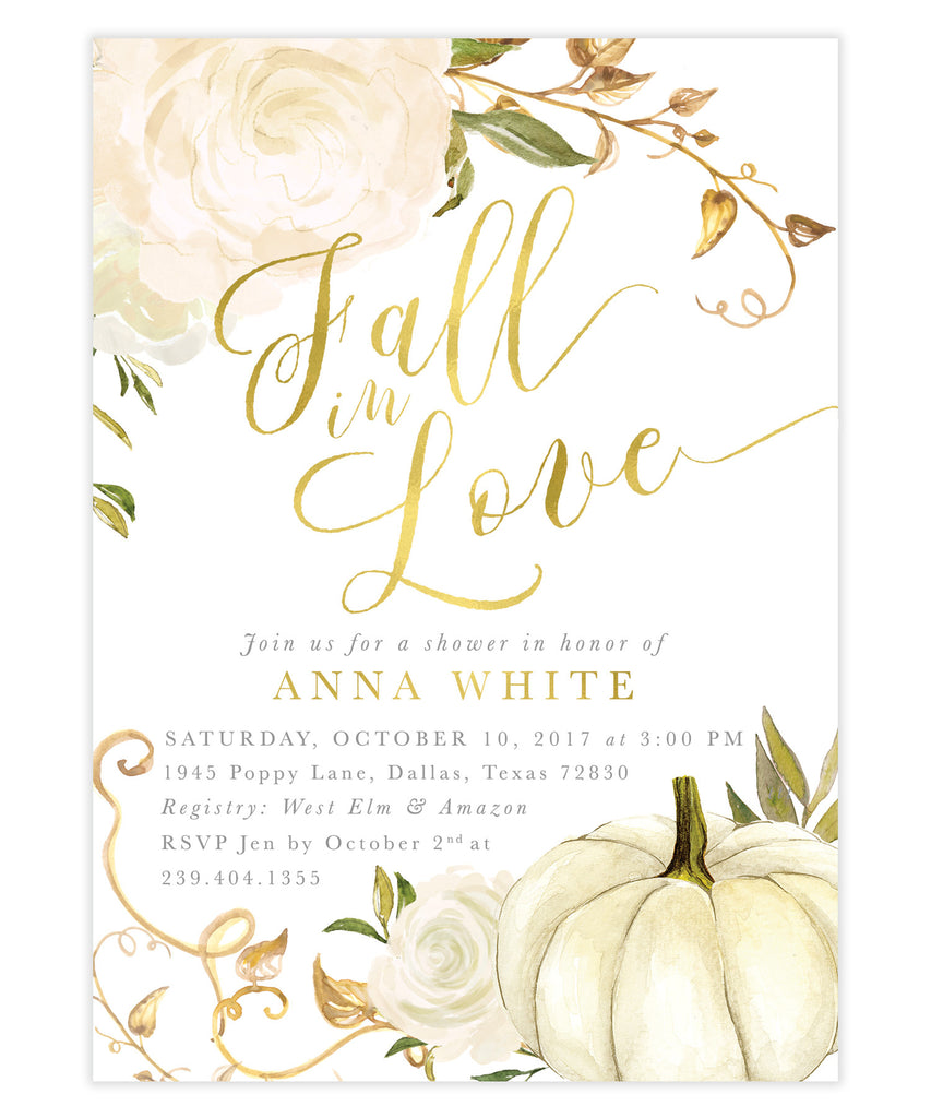 Fall In Love White Roses & Pumpkin Bridal Shower Invitation