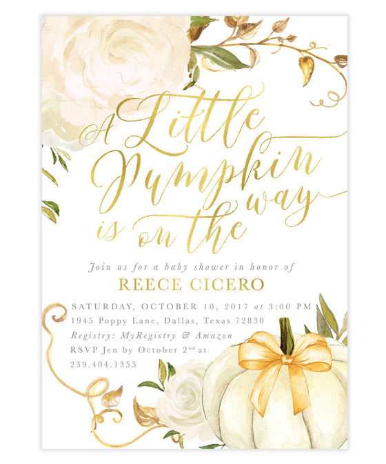 "Fall ""Pumpkin is on the way"" White Roses Baby Shower Invitation"
