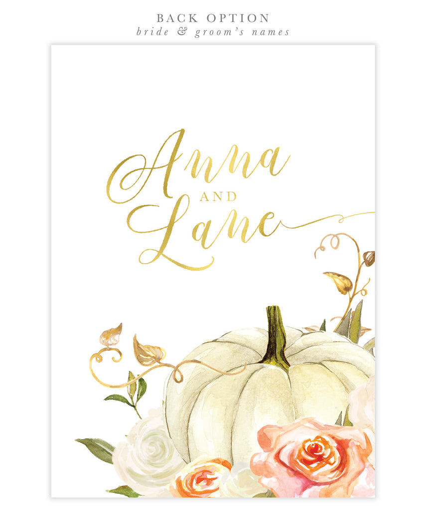 Fall Orange and White Roses & Pumpkin Bridal Shower Invitation