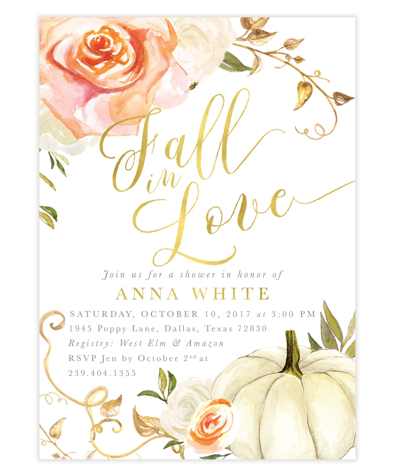Fall In Love Bridal Shower Invitation: Orange White Rose Florals ...