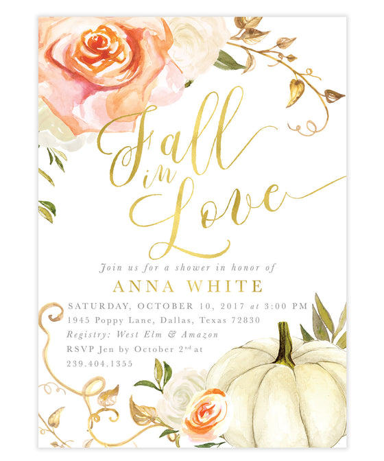 Fall 3: Fall In Love, Bridal Shower Invitation {orange}