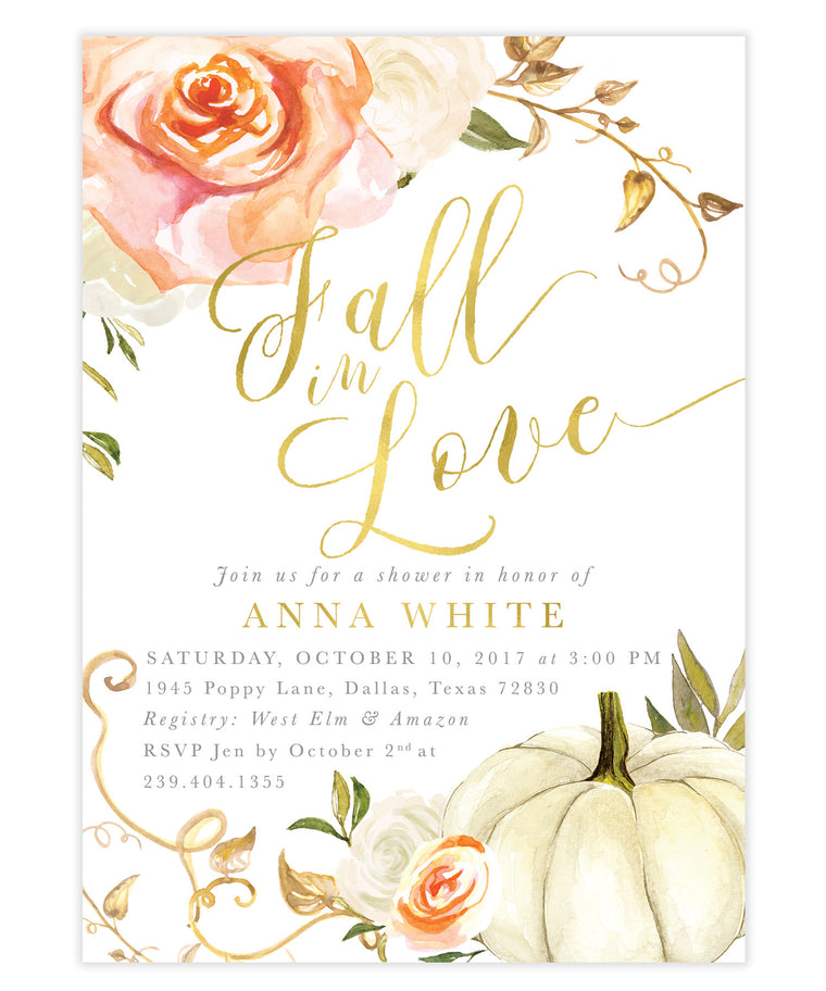Fall In Love Orange Roses & Pumpkin Bridal Shower Invitation