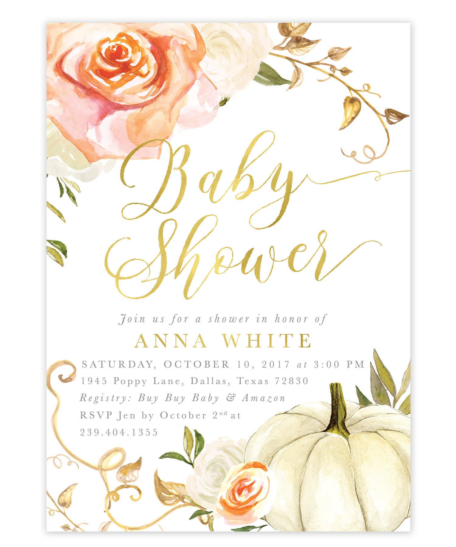Fall Florals U0026 Pumpkin Baby Shower Invitation