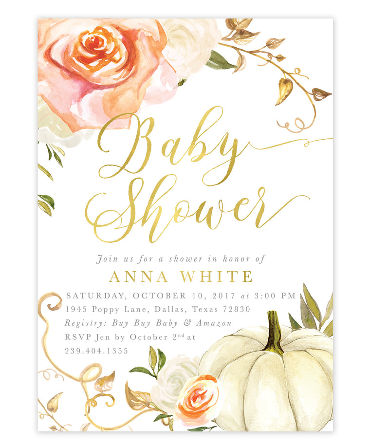 Fall Florals & Pumpkin Baby Shower Invitation