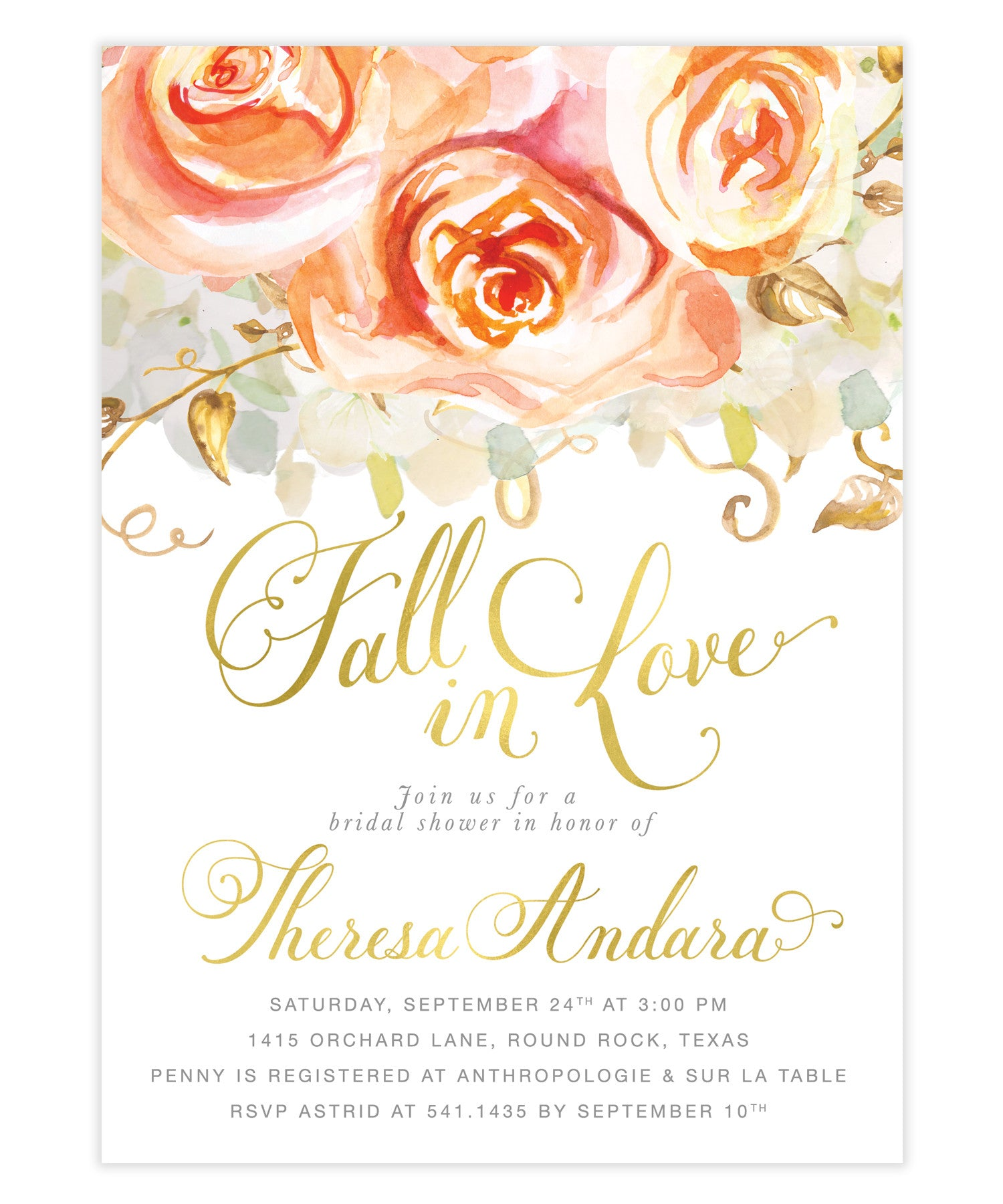 fall in love peach roses hydrangeas bridal shower invitation