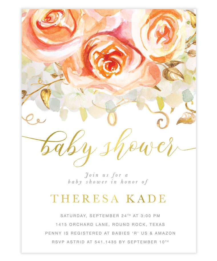 Fall Peach Roses & Hydrangeas Baby Shower Invitation