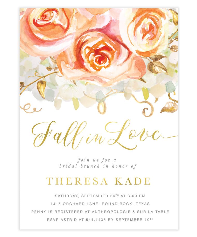 Fall in Love Peach Roses & Hydrangeas Bridal Shower Invitation