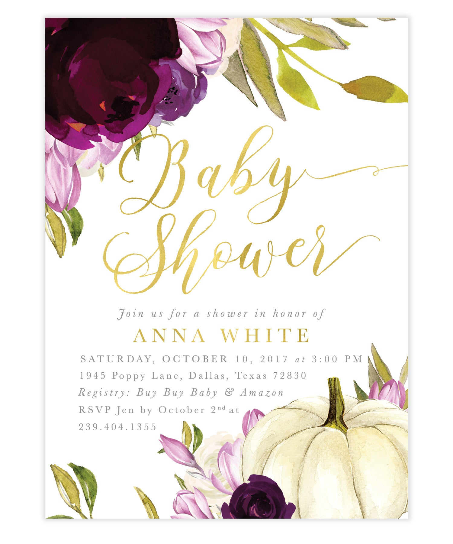 Fall baby shower invitation white rose florals white pumpkin sea fall purple amethyst roses pumpkin baby shower invitation filmwisefo
