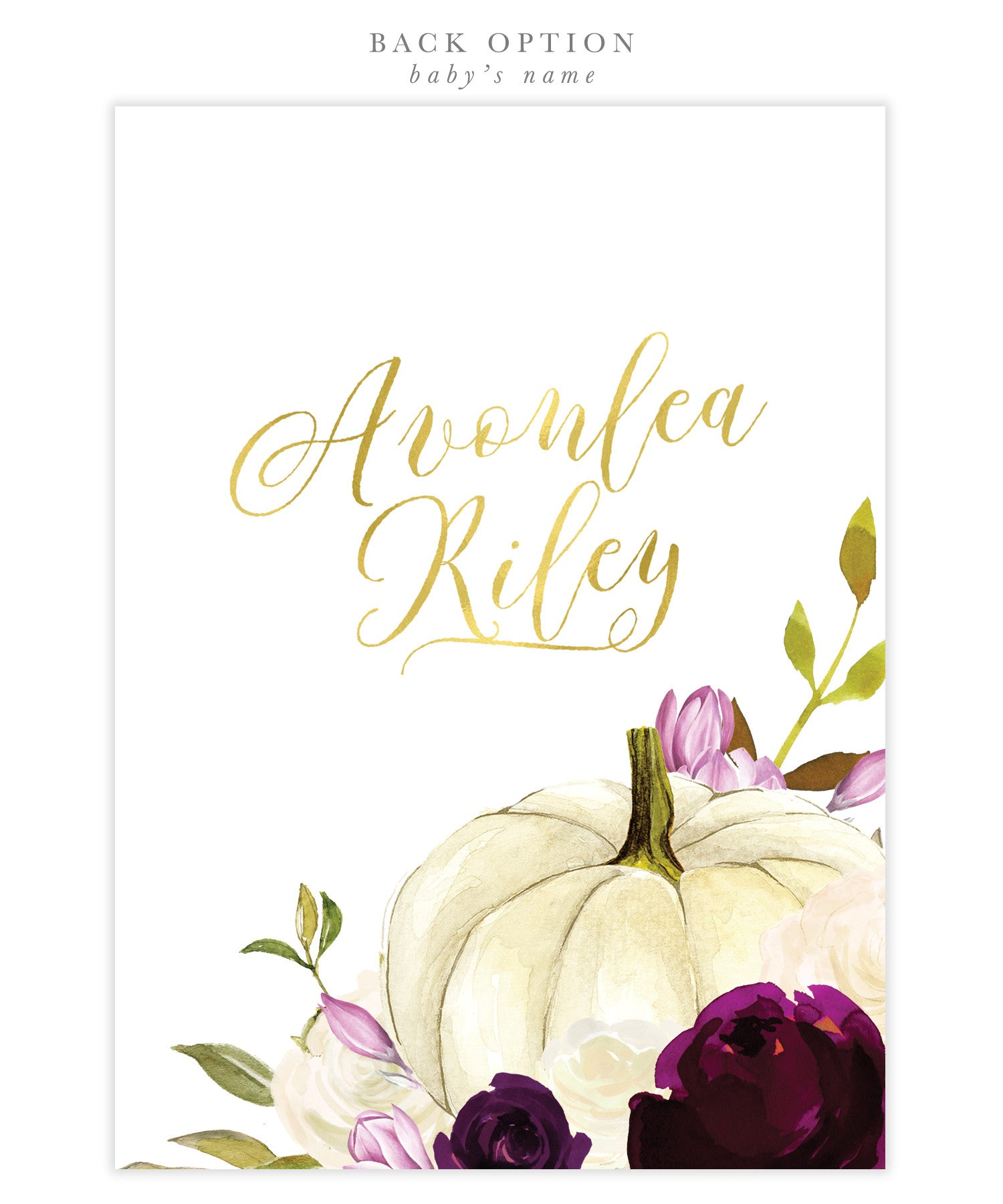 fall baby shower invitation white rose florals white pumpkin sea