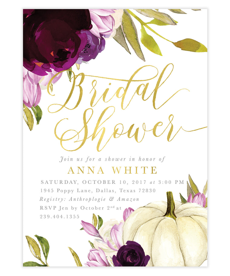 Fall Amethyst Purple, White Roses & Pumpkin Bridal Shower Invitation