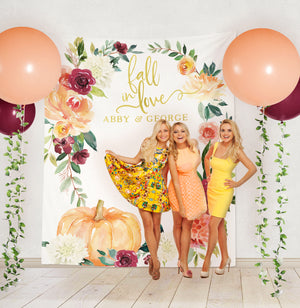 Fall in Love Bridal Shower or Wedding Pumpkin Backdrop