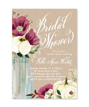 Fall 8: Pumpkin, Mason Jar Bridal Shower Invitation