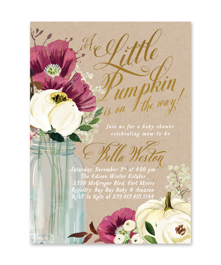 Fall Baby Shower Invitation, A Little Pumpkin is On the Way Baby Shower Invite, Mason Jar Baby Shower Invite, Pumpkin Baby Shower - Fall 8
