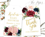 Kristen: Favor Thank You Tags {Navy Pumpkin}