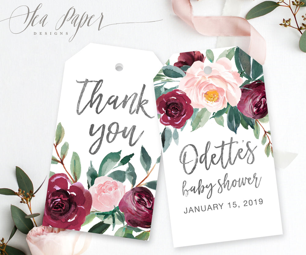Odette: Favor Thank You Tags {Black}