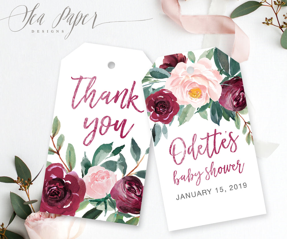 Odette: Favor Thank You Tags {Burgundy}