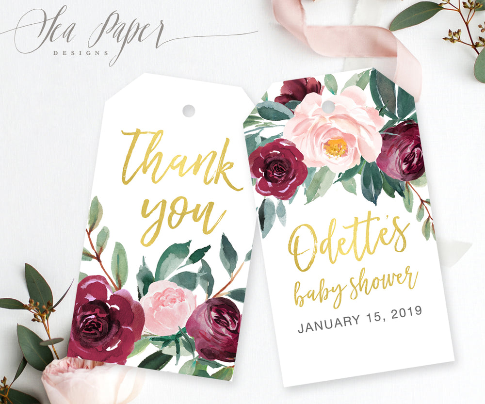 Odette: Favor Thank You Tags {Gold}