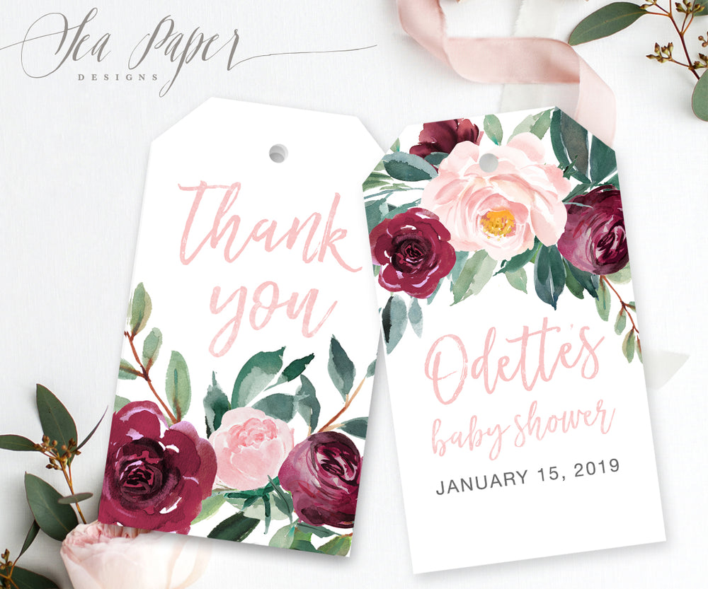 Odette: Favor Thank You Tags {Pink}
