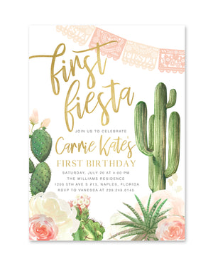 First Birthday Party Fiesta Invitation