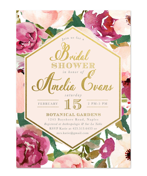 Amelia: Bridal Shower Brunch Invitation, Burgundy, Blush Pink & Gold Floral