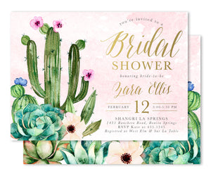 Zara: Succulent & Cactus Bridal Shower Invitation