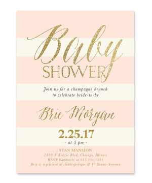 Brie: Baby Shower Invitation {Blush Pink Roses, Stripes & Gold}