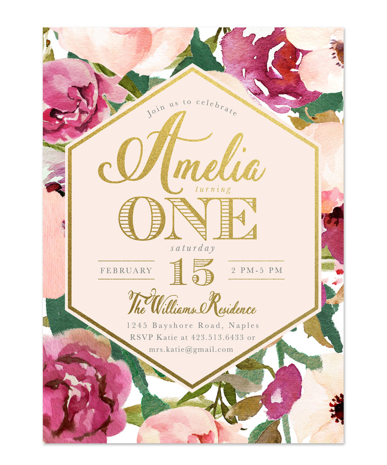Amelia: Girl Birthday Invitation, Burgundy, Blush Pink & Gold Floral