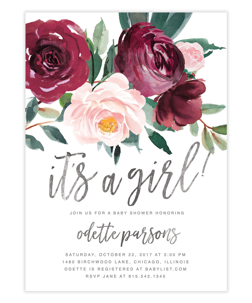 Odette: Baby Shower Invitation, Burgundy, Blush Pink & Greenery