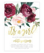 Odette: Baby Shower Invitation, Burgundy, Blush Pink, Greenery, Gold