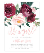 Odette: Baby Shower Invitation, Burgundy, Blush Pink Florals & Greenery