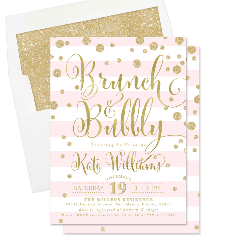 Kate: Brunch & Bubbly Invitation, Pink Stripes & Gold