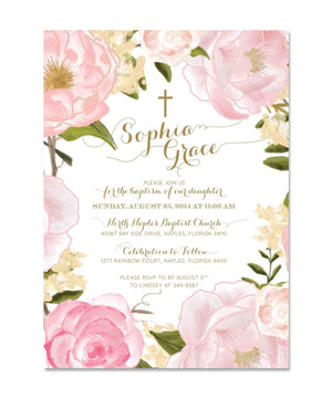Grace: Baptism Invitation for Girls. Pink Roses & Peonies, Gold Script