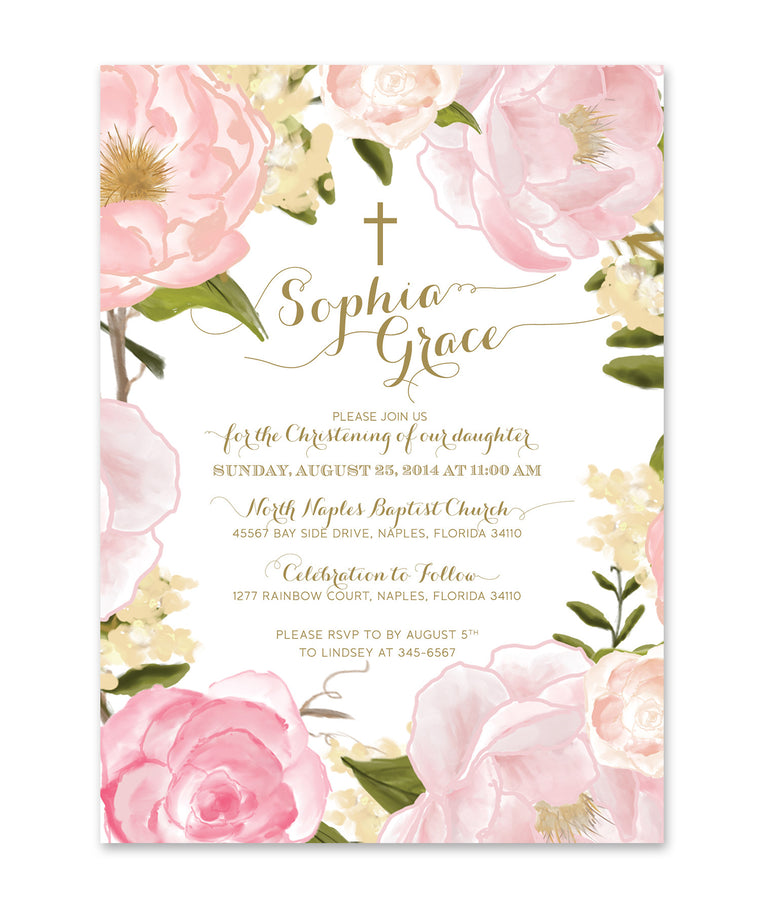 Grace: Christening Invitation for Girls. Pink Roses & Peonies, Gold Script