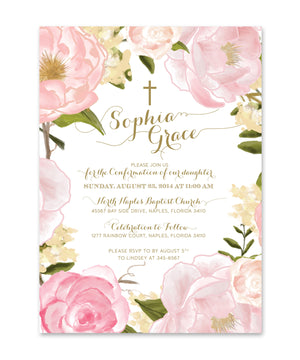 Grace: Confirmation Invitation for Girls. Pink Roses & Peonies, Gold Script