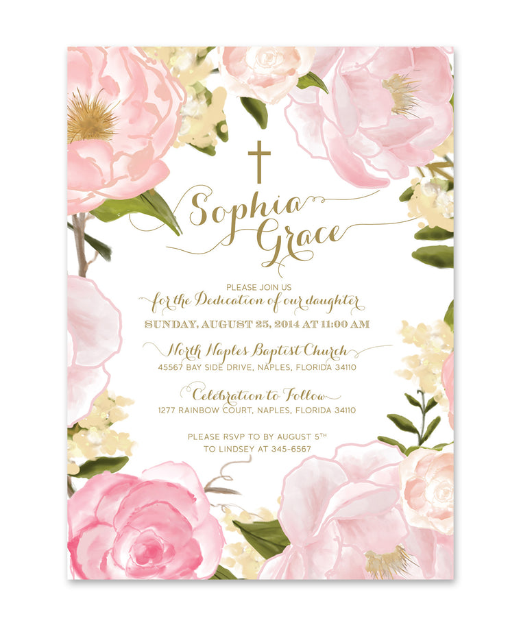 Grace: Dedication Invitation for Girls. Pink Roses & Peonies, Gold Script
