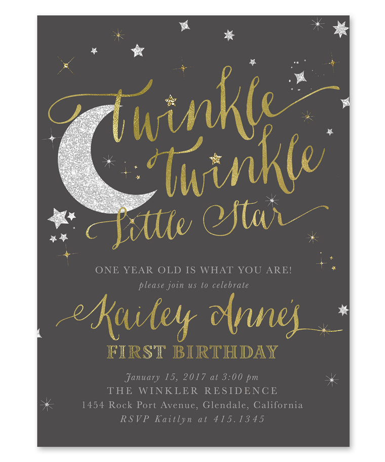 Twinkle Little Star Boy or Girl Birthday Invitation {Charcoal Grey}